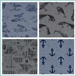 Kaufman Nautique Chambray Printed Fabric