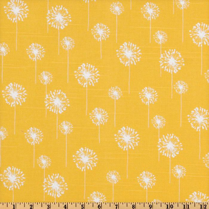 Premier Prints Small Dandelion Slub White/Yellow