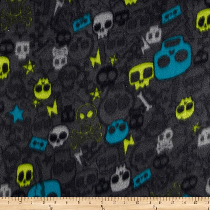 Wintry Fleece Skulls Grey
