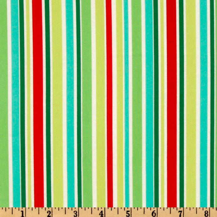 Michael Miller Holiday Yule Trees Aqua That&#39;s All Stripe Multi
