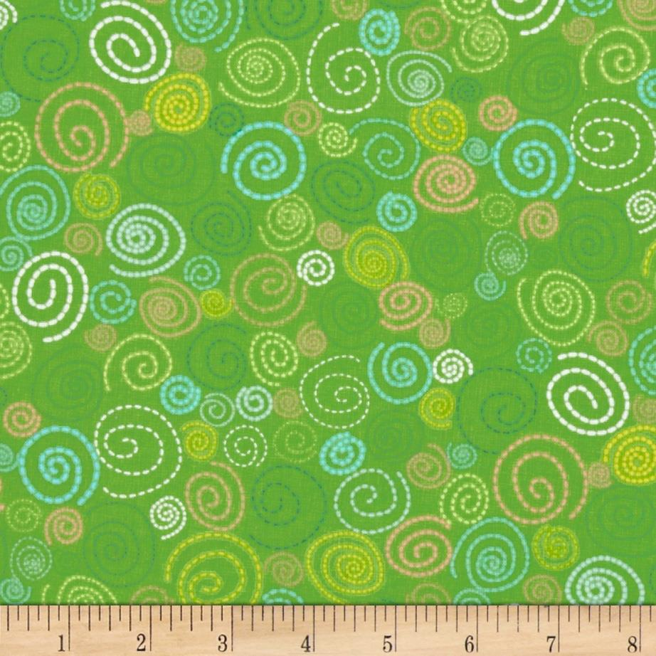 Timeless Treasures Pond Pals Swirls Green