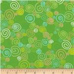 0289548 Timeless Treasures Pond Pals Swirls Green