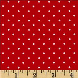 Aunt Polly's Flannel Mini Polka Dot Red/White