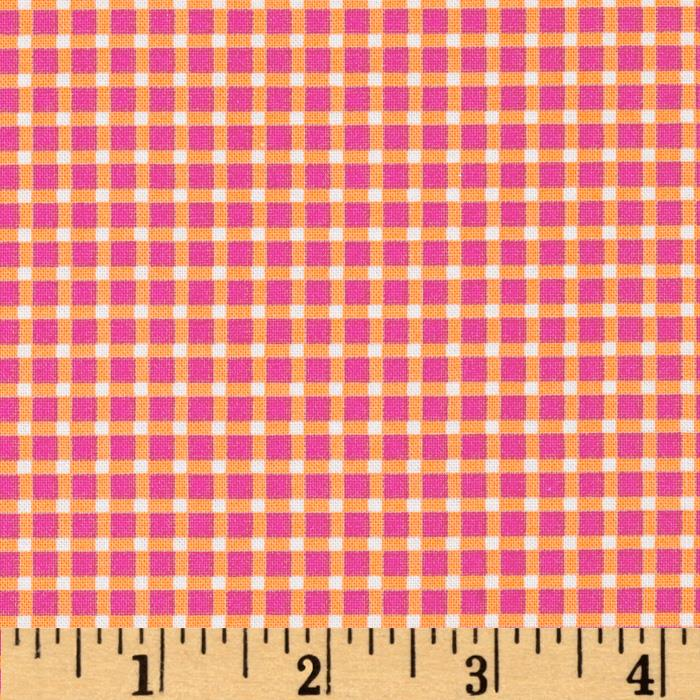 Michael Miller Cute Zoo Plaid Sorbet Tangerine