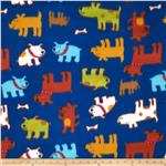 203115 Printed Fleece Happy Puppy Royal Blue