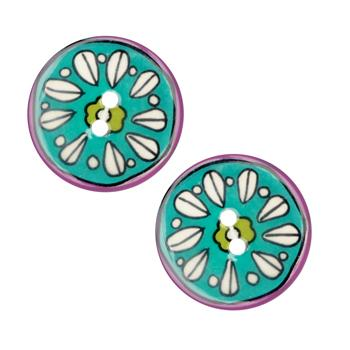 Novelty Button 1'' Petals Turquoise