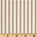 Vertical Ticking Stripe Ivory/Brown
