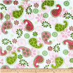 0283914 Minky Cuddle Paisley Pink/Green