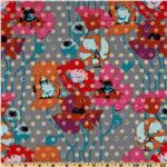 FV-519 Anna Maria Horner Field Study Raindrops Poppies Platinum Grey