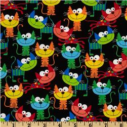 Timeless Treasures Silly Cats Black