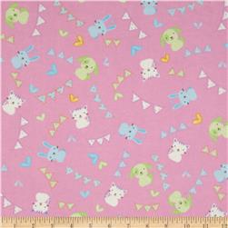 Welcome Baby Flannel Tossed Animals Pink