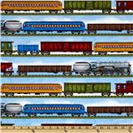FH-152 Timeless Treasures Planes, Trains &amp; Automobiles Train Stripe Blue