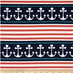 236034 Michael Miller Ahoy Matey Stay The Course Repeating Stripe Navy