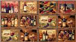 0263437 Wine Bottle Blocks Panel Multi