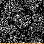 Exclusively Quilters Night and Day Heart Swirls Black/White