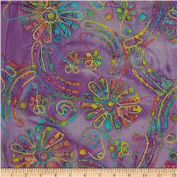 Embroidered Batik Floral Bright/Lavender/Multi