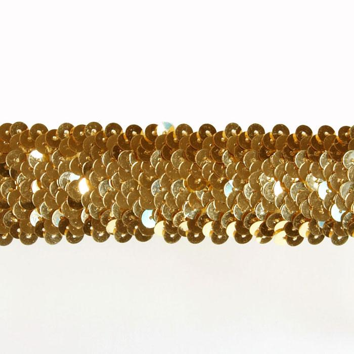 "1 1/2"" Stretch Metallic Sequin Trim Gold"
