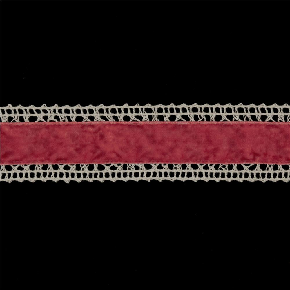 1 3/8&#39;&#39; Velvet Lace Trim Ivory/Rose