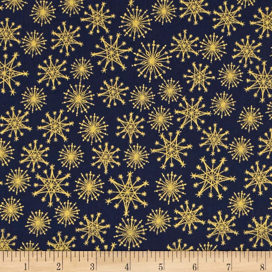 Christmas Metallic Starburst Navy