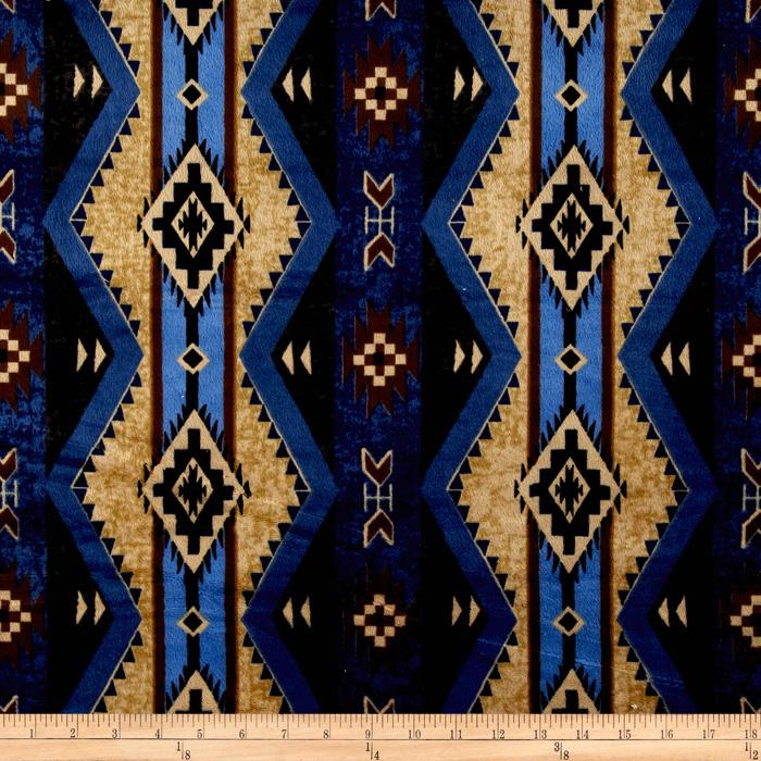 Minky Softie Cabin Aztec Blue