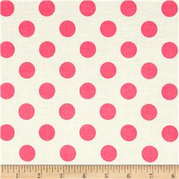 Riley Blake Le Creme Basics Medium Dots Cream/Hot Pink