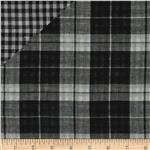Michael Stars Designer Double Cloth Shirting Plaid Black/Ivory