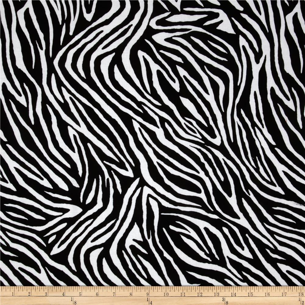 Timeless Treasures Zebra Black White