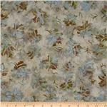 Moda Trail's End Batiks Maple Leaves Ivory/Blue