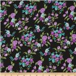 Serenade Rayon Challis Centerpiece Floral Purple/Black