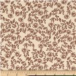 Cotton Poplin Floral Vines Brown/Tan