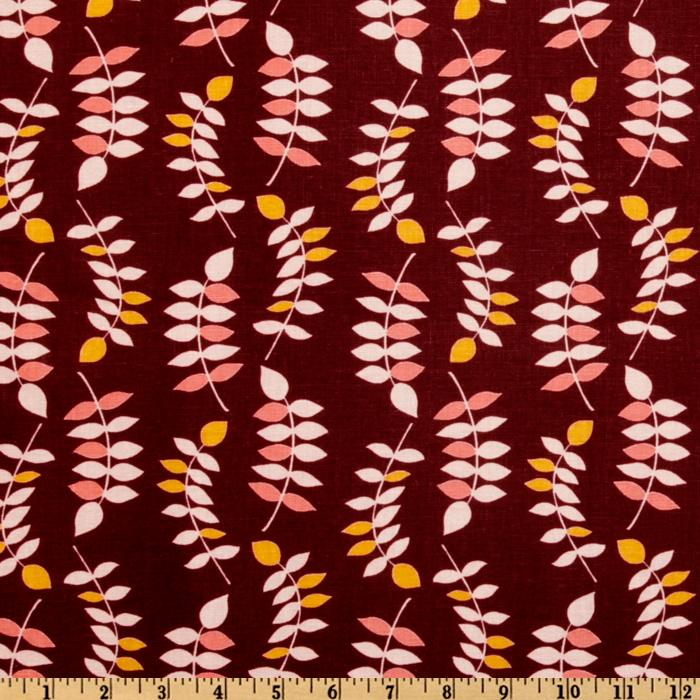 Valori Wells Jenaveve Linen Blend Leaves Merlot