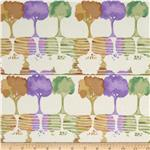 0279021 Watercolor Garden Trees Cream