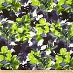 0290351 Bloom Stretch Cotton Sateen Flowers White/Green