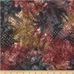 Moda Enchanted Pond Batik Diamonds Magenta/Golden Mix