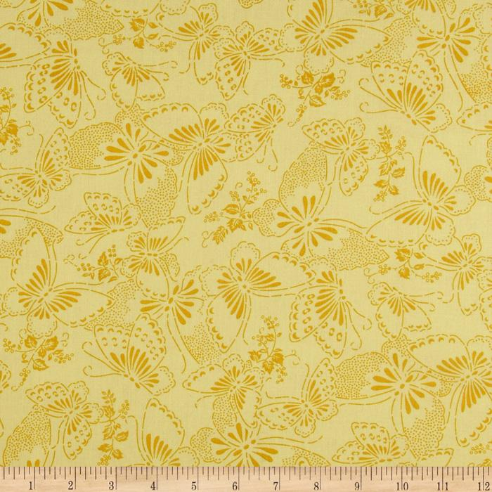 "110"" Wide Quilt Backing Butterfly Light Yellow"