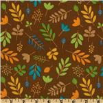 Riley Blake Zoofari Organic Leaves Brown