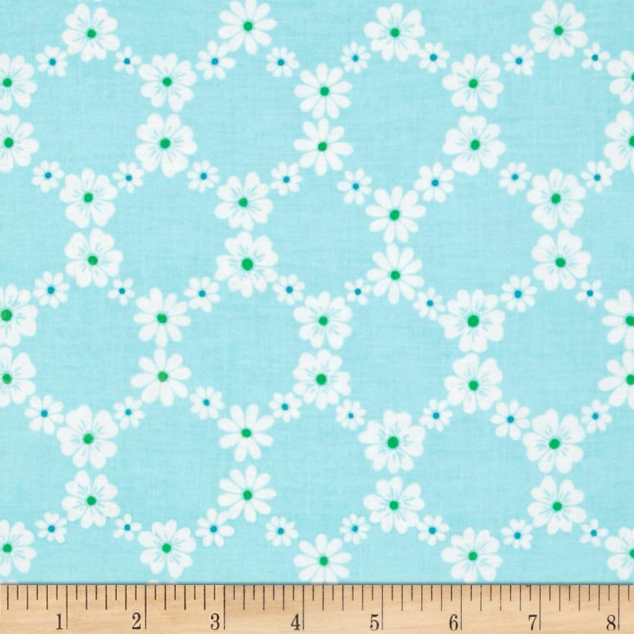 Michael Miller Happy Tones Jemma Floral Lattice Aqua