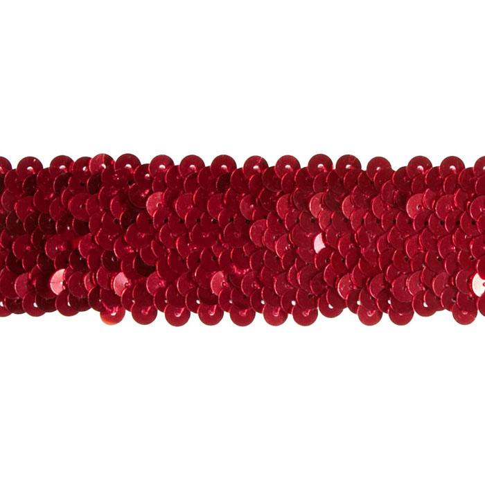 "1 1/2"" Stretch Metallic Sequin Trim Red"