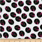 Garden Rayon Challis Floral Dot Pink/Black