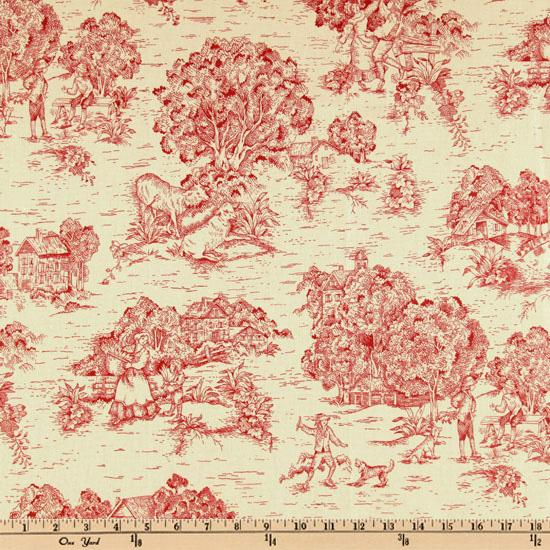 Pastoral Toile Cranberry Red/Cream