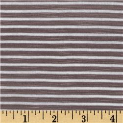 Rayon Blend Yarn Dyed Jersey Knit Stripe Taupe