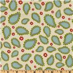 FC-624 Pretty Paisley Flannel Scalloped Paisleys Retro Ivory