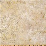 "229991 108"" Wide Tonga Batik Quilt Backing Abstract Floral Foam Cream"