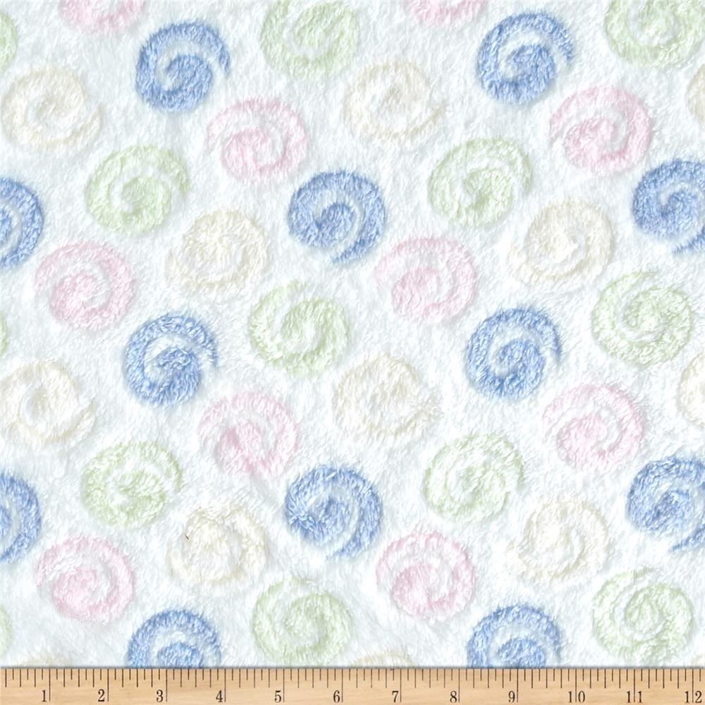 Double-Sided Minky Cuddle Fleece Swirls White/Multi