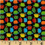 Timeless Treasures Minis Flannel Turtles Black