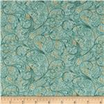 Tea House Tea Garden Scroll Teal