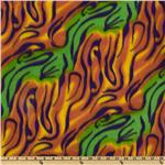 Novelty Fleece Tie Dye Stripes Green/Multi