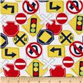 Flannel Traffic Signs White