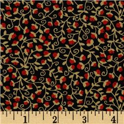Autumn Bounty Tiny Packed Floral Scroll Black/Red