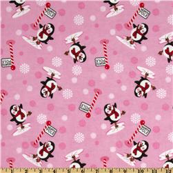 Comfy Flannel Winter Penguin Pink